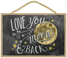 Love You to The Moon and Back Chalk Art Artwork Cute Hanging Wood Sign New L25