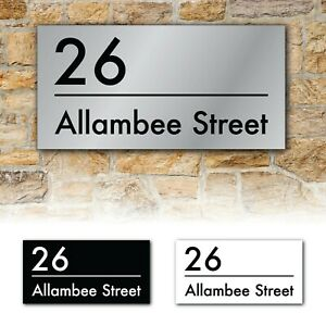 Contemporary Custom House Number and Street Name Address Aluminium Sign Plaque