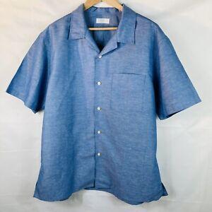 Mens XXL 2XL Uniqlo Short Sleeve blue chambray linen cotton shirt New no tags