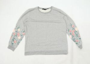 Dorothy Perkins Womens Grey Floral Jersey Pullover Sweatshirt Size 16