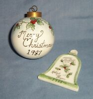 VTG Lot 2 Glass Christmas Tree Ornament Ball Bell Personalized Holly Berry