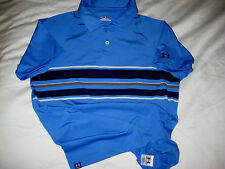 Under Armour Stretch Poly Embroidered Logos Blue Golf Polo Shirt-Nice!- M