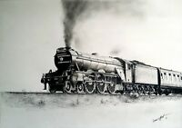 THE FLYING SCOTSMAN TRAIN PRINT Limited Edition Signed Art Drawing Class A3 LNER