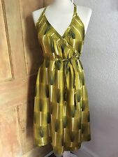 Orla Kiely 100% silk mustard & green tulip design wrap dress size 2 UK 10 NWOT