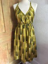 Orla Kiely 100% Seda mostaza y verde tulipán diseño Envoltura Vestido Talla 2 Reino Unido 10 Nuevo sin etiquetas