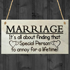 Marriage Special Person To Annoy For A Lifetime Funny Novelty Plaque Sign Gift