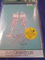 New Evergreetings Card 12.5 x 18 Garden Flag Gift Wine Glass Salute Celebrate