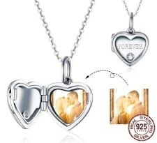 Love Heart Locket Photo Custom Personalise Charm 925 Sterling Silver Necklace