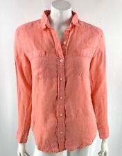 Gap Linen Shirt Size Small Pink Button Up Collared Solid Top Womens