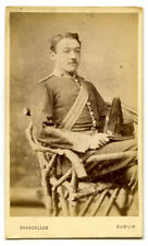 More details for antique irish cdv photo~soldier with shako/badge~nationality? chancellor/dublin
