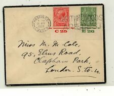 Great Britain 2 margin number stamps on mourning cover Ks0329