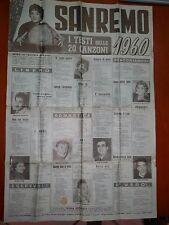 Vecchio volantino poster LE 20 CANZONI DI SANREMO 1960 Mina Modugno Rascel Bruni