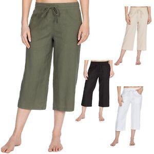 Ladies Cropped 3/4 Linen Capri Elasticated Waist Summer Pant Trouser Size