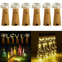 10x 20 LED Weinflasche Kork String Light Nacht Lichterkette Party Flaschenlicht