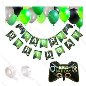 EPIC BIRTHDAY SUPER SHAPE GAME CONTROLLER HELIUM FOIL BALLOONS THEME PARTY DECOR