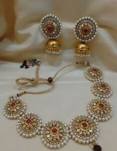 18k Gold Plated Bollywood South Indian Style Fashion Pearl Necklace Earring Set