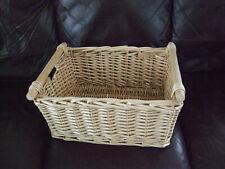 Honey Wicker Storage Basket Wooden Handles