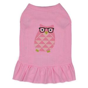 Luvfavo Owl Cute Pink Dress Pup Clothes Cozy Dog Shirt Pet Apparel Cat Vest