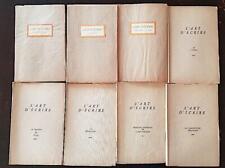 L'ART D'ECRIRE école A.B.C.Lot de 8 differents. roman, le theatre, cinema,etc..