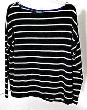 Lauren Ralph Lauren  Navy/White Striped Boatneck Top Sz L Ret $69.50 NWT