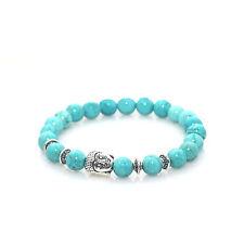 Silver Buddha Charm Bracelet Teal Marble Lava Stone by Maya Bracelets W/ Bag!