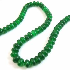 Green Jade Beads - Smooth Rondelle 6x4mm Gemstone Beads (Sold Per Strand)