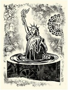 Shepard Fairey Damaged Stencil Liberty print Obey Giant portrait rise statue of