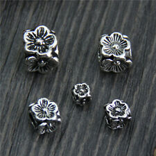 Elegant 925 Sterling Silver 8mm Loose Flower Squared Beads 10pcs/Lot