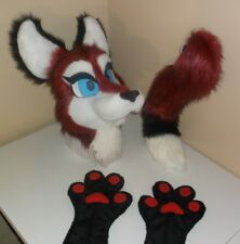 Ruby Fox Fursuit Partial Animal Costume Mascot! Head, Hand Paws, And Tail!