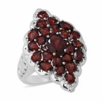 925 Sterling Silver Garnet Cluster Ring Gift Jewelry for Women Size 9 Ct 6.2