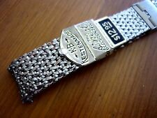 vintage NOS mens KB KESTENMADE THICK SS MESH two piece watch band 17mm ends NICE