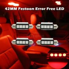 4) LED Car Bulb 42MM Festoon 4SMD Error Free Dome Map Interior Light Red