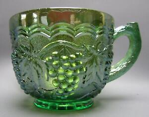F091 Imperial GRAPE Unmarked Green Carnival Glass Punch Cup
