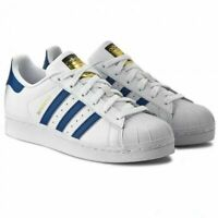 Adidas Boys Trainers Superstar Kids Sports School Casual Shoes Blue White Size