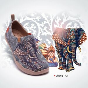 UIN Chang Thai Damen-/Herrenschuhe (Unisex) aus Leinen (Canvas), Motiv Elefant