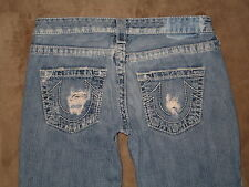 True Religion Size 28 Flare Destroyed Low Rise Light Blue Denim Womens Jeans