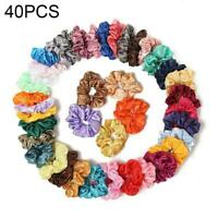 40PCS Hair Scrunchies Satin Elastic Bands Scrunchy Girls Mixed Ropes Ties c J5H8