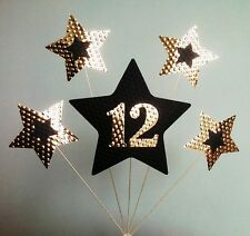 12th BIRTHDAY CAKE TOPPER. STARS, Gold and Black.