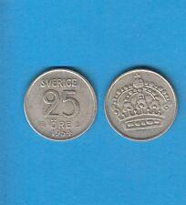 § Suède Sweden  Silver Coin 25 öre en Argent 1954