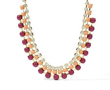 FOSSIL Brand Northern Lights Red Peach Cabochon Frontal Gold-Tone Necklace $78