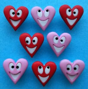 HAPPY HEARTS Craft Buttons Valentine's Day Faces Pink Red Novelty Dress It Up
