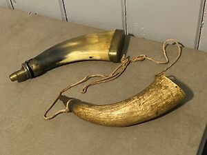 Lot of Two 2 Antique Vintage Powder Horns