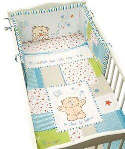 Forever Friends Blue Boys 5 Piece Cot Bed Bumper, Quilt, Blanket, Bedding Set