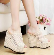 12cm Heels Slippers Lady Hollow Out Wedge Slippers Open Toe Gold Platform Shoes
