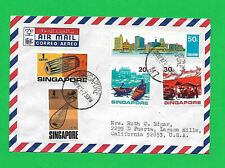SINGAPORE  1971  Airmail cover with 5 stamps all tied to 22APR1971 cancels-nice