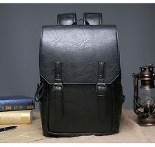 Mens Leather Backpack Shoulder Satchel Bag School Rucksack Loptap Bag Black