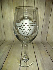 Wonder Woman Wine Glass - Hand Etched - 21 oz large