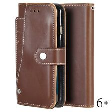 iPhone 6+ / 6S+ Plus - Brown Card ID Slot Wallet Diary Folio Pouch Case Cover