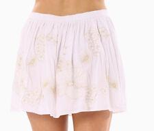Designer Abow 8 White Crisp Cotton Gold MetallicThread Floral Pull On Skirt