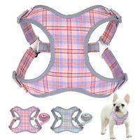 Plaid Reflective Step In Pet Cat Dog Walking Vest Harness and Lead Small Medium